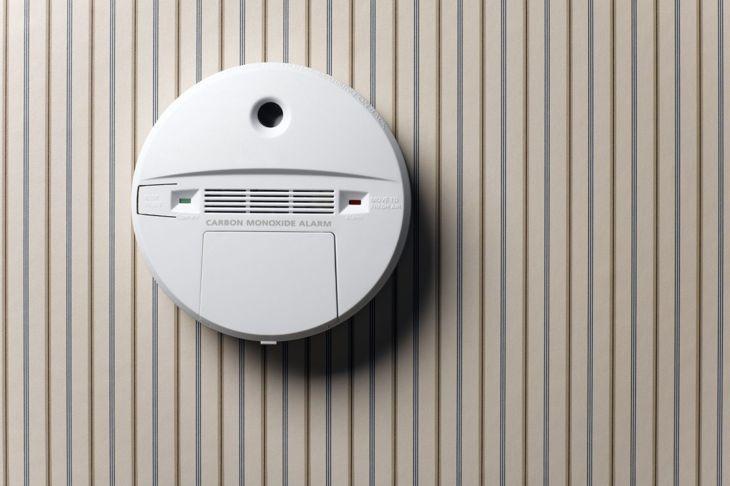 Smoke alarm on wall
