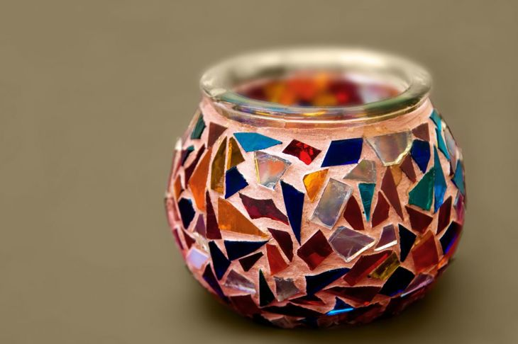 glass mosaic decor, glass mosaic vase