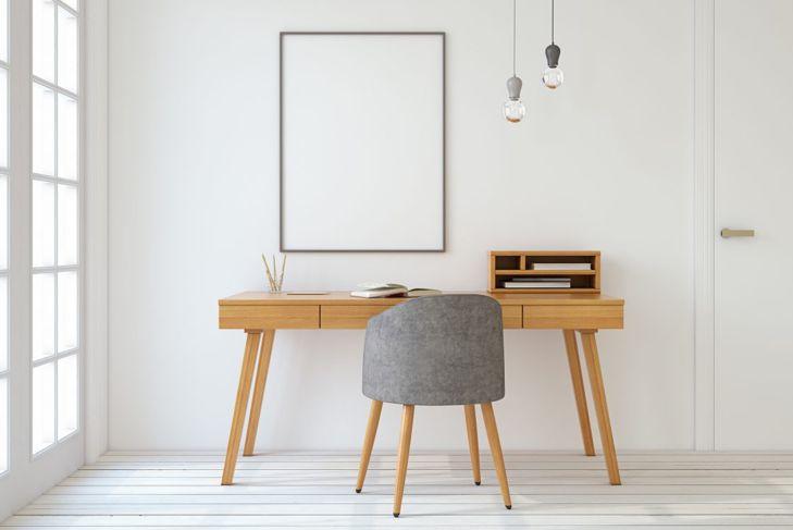 clean office, neutral decor