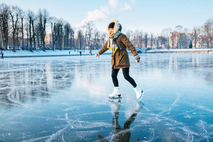 A pond freezes clear