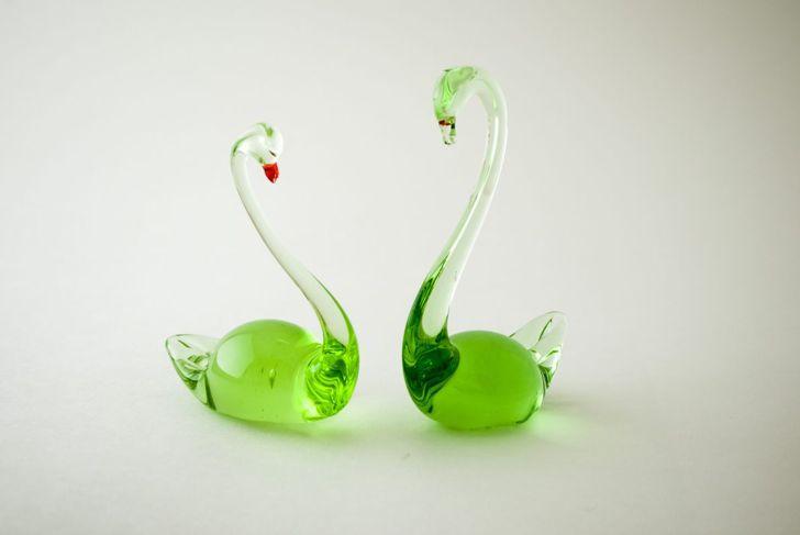 glass sculpture, swans