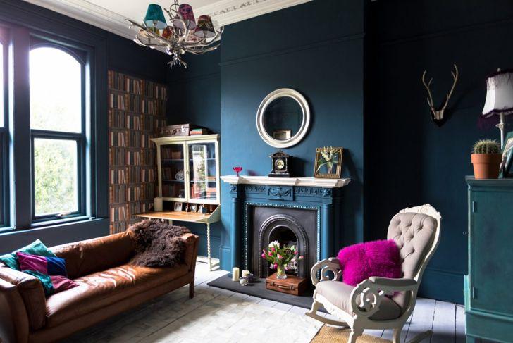 Blue fireplace surround
