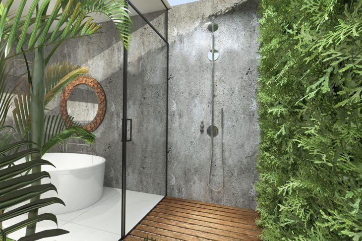 Hybrid indoor outdoor shower