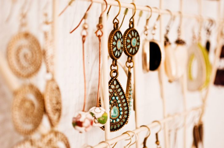 Jewelry hanging from a rod