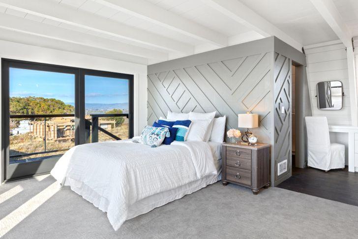 wood geometric accent wall