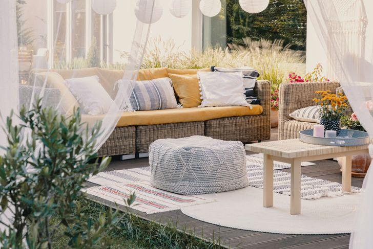 repurposed covered eating area backyard