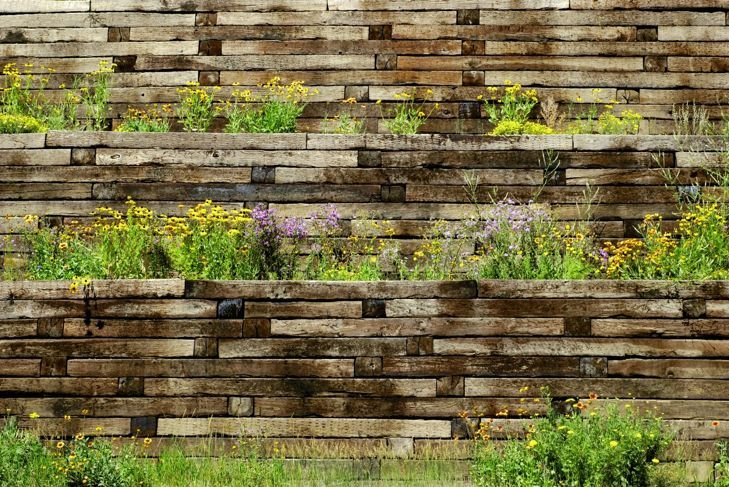 Wood wall with flowers