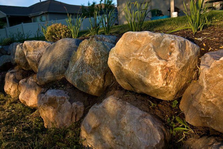 Boulders on sloping landscape