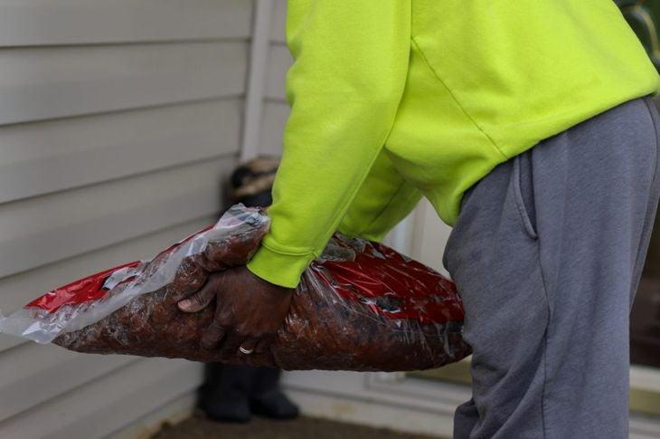 Man applying mulch to garden
