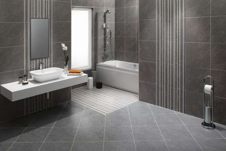 bathroom tiles, large tiles, dark tiles