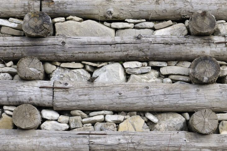Timber and stone wall