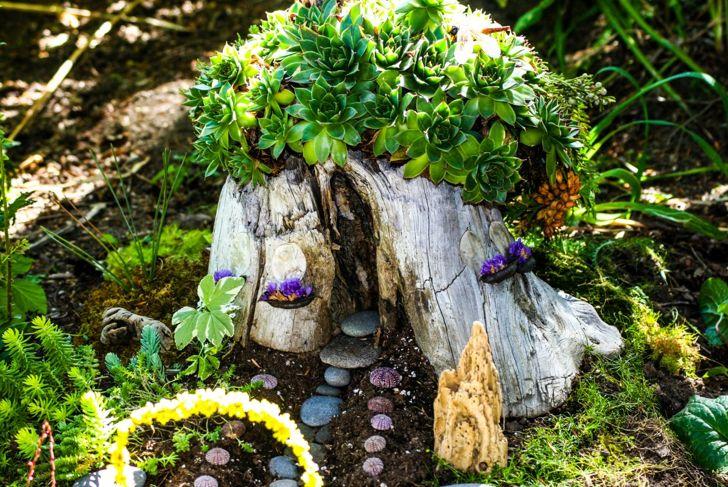 fairies gnomes nymphs home stump