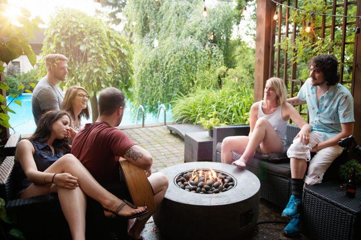 Fireplace under pergola