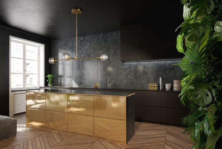 gold leaf in kitchen