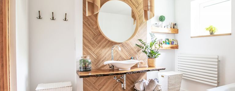 Brighten Up a Small Bathroom with Open Shelves