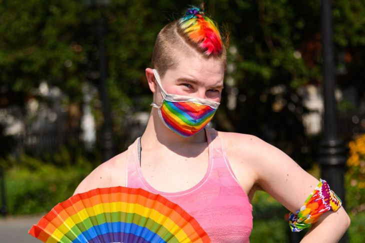 A rainbow mohawk is an extreme way to show off color on a short head of hair.