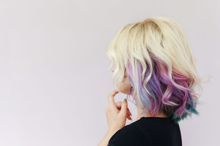 Peek-a-boo rainbow hair is a cool way to use color.