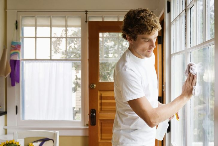 Man completing chores