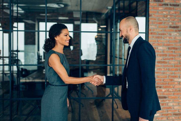 Shaking hands with the hiring manager