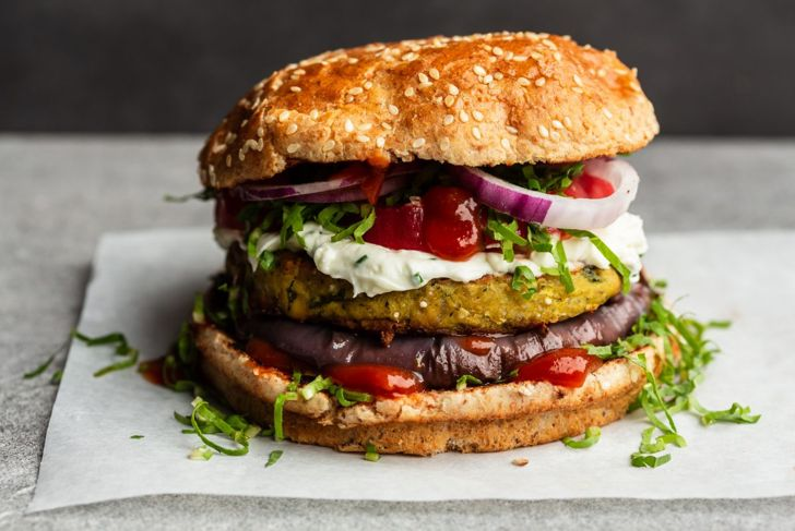 A loaded veggie burger, one of the healthiest processed foods you can buy.