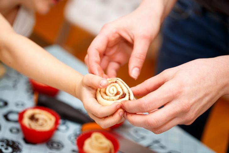 Making cinnamon rolls for a healthy celebration breakfast