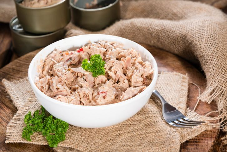 Prepared fish from a can, a healthy processed food that can quickly be made into a balanced snack or complete meal.