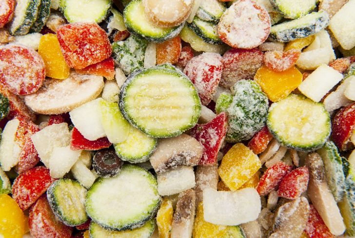 A variety of frozen vegetables, which are one of the healthiest processed foods there is.