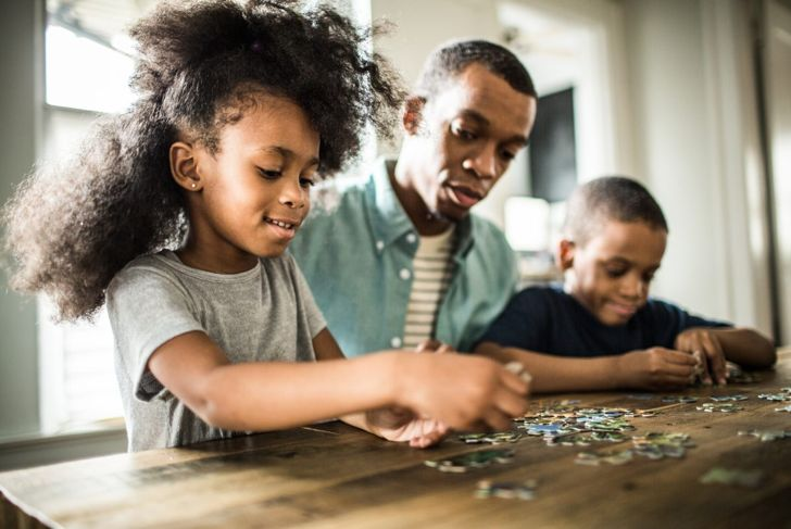 kids with a puzzle