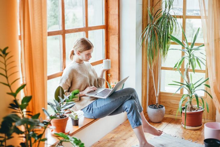 Woman sitting with her laptop near house plants.