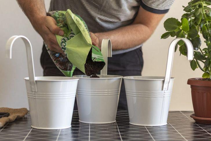 Man pours soil into pots for plants.