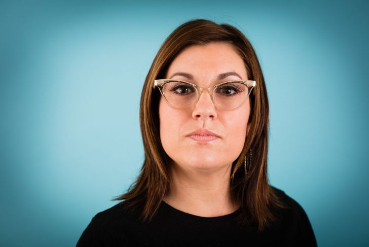 Woman square face cateye frames