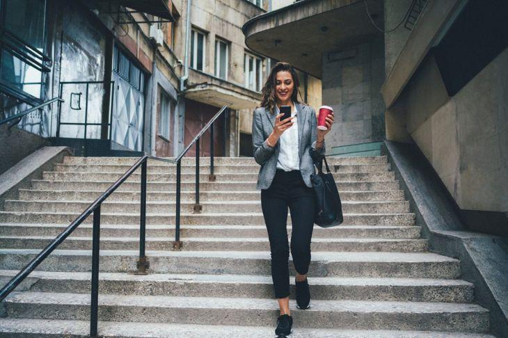woman taking stairs