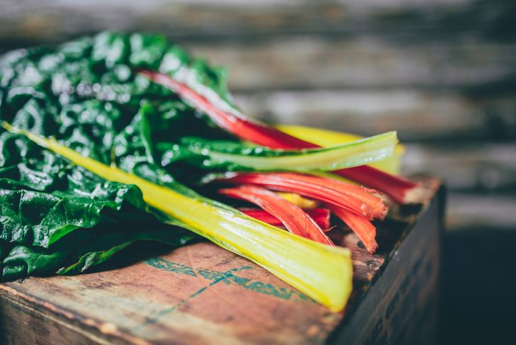 colorful swiss chard on a wooden box