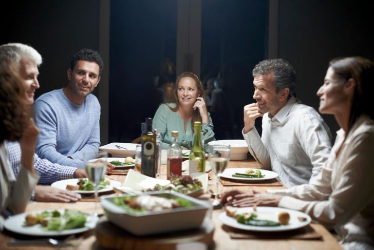 dinner party with bright lighting
