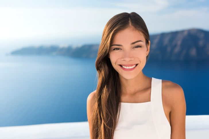 smiling model with long type 1c hair