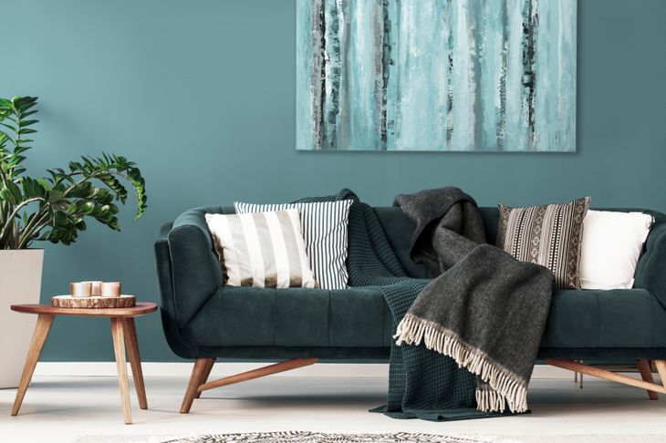 living room with contrasting cushions on a sofa