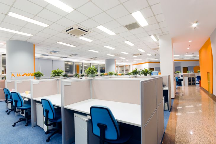 bright overhead lighting in an office