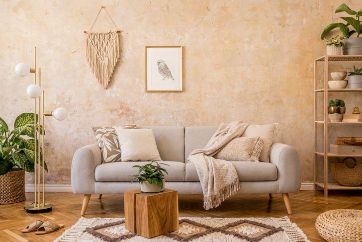 coordinating living room in warm beige tones