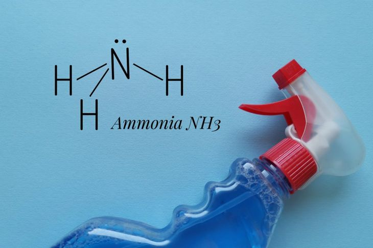 spray bottle and ammonia chemical symbol on a blue background