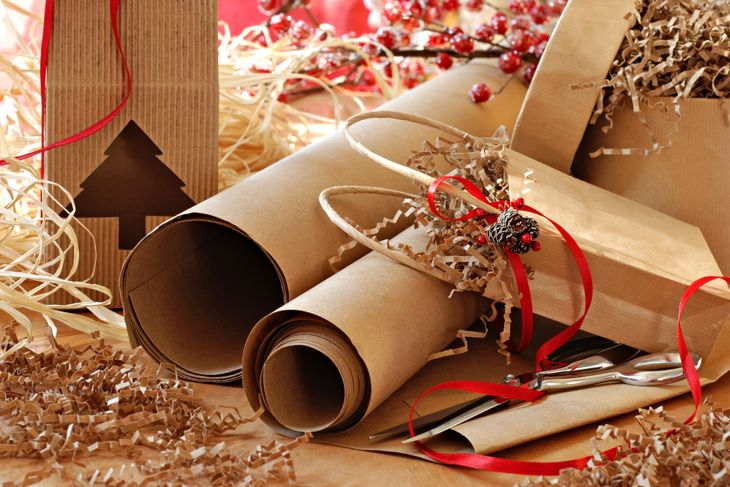 brown paper gift wrap and bags, eco-friendly