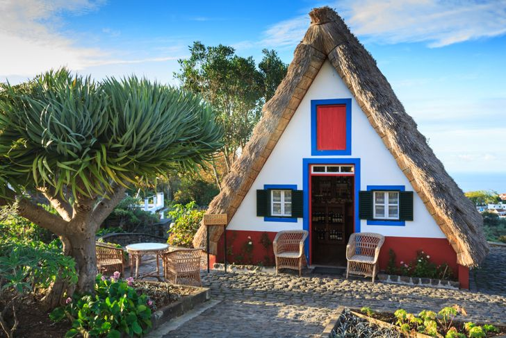 a-frame house with thatched roofing