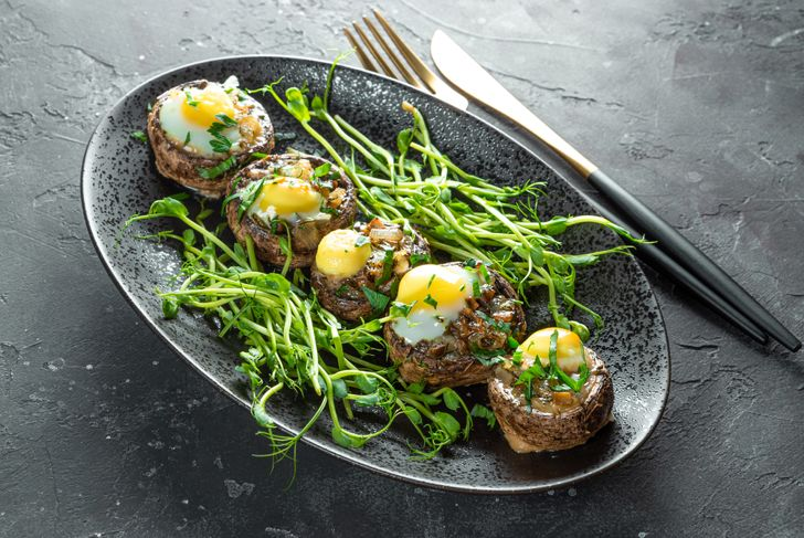 microgreens on a plate with a mushroom dish