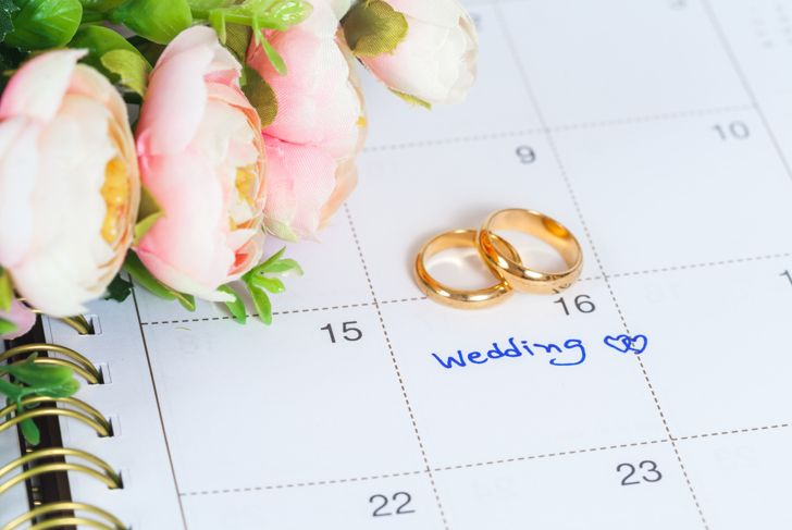 wedding day marked on a calendar with gold rings