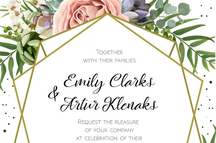 classic wedding invitation digital illustration