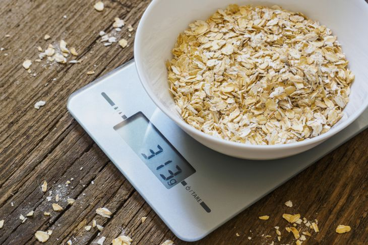 small kitchen scale weighing oats