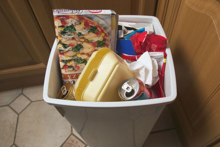 kitchen garbage can with take out containers