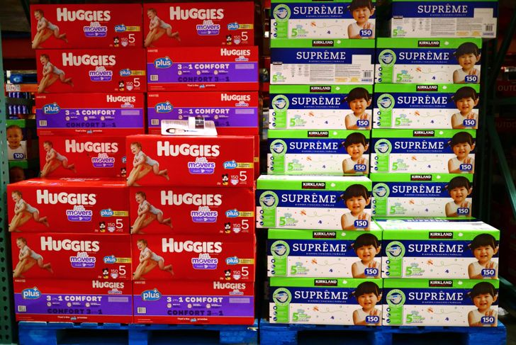 stacks of diapers in a costco store