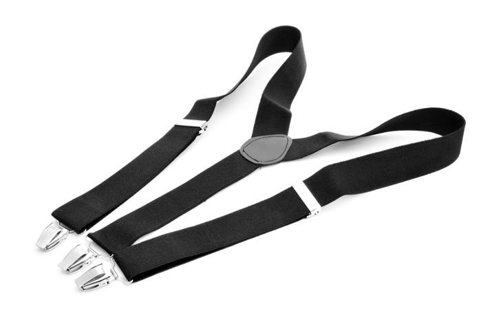 pair of suspenders on white background