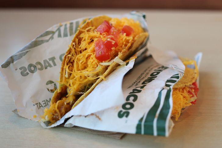 Del Taco tacos on a tray
