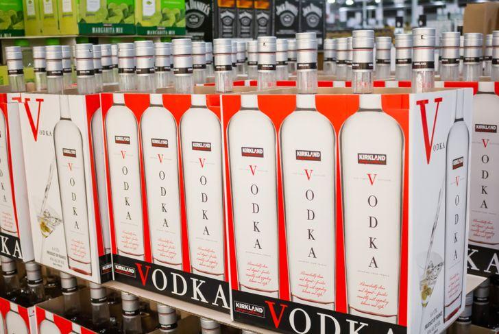 vodka bottles on grocery warehouse store shelf